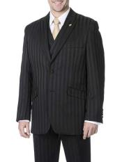 JSM-715 Mens Black Single Breasted 3 Piece Peak Lapel