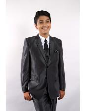JSM-5743 Boys 5 Piece Single Breasted Black Suit Vested