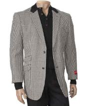 JSM-867 Mens Single Breasted Peal Lapel Houndstooth Fashion Black/White