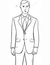 JSM-2182 Mens Enzo Black Slim Fit 2 Piece Notch