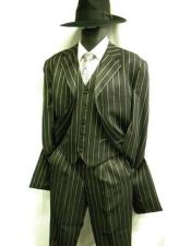 JSM-4447 Mens Single Breasted Bold Pronounce White Pinstripe Three