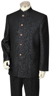 JA69 Mens Button Fastener Mandarin Collar Black Zoot Suit