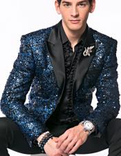 JSM-5177 Mens Blue Sequin paisley Dinner Jacket Tuxedo Blazer