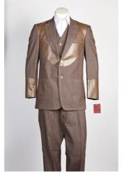 JSM-351 Mens 2 Piece Brown Single Breasted Suit