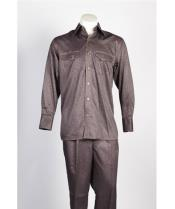 JSM-485 Mens 6 Button Brown Single Breasted Suit