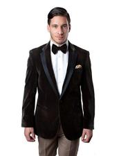 JSM-3044 Mens Brown Velvet Blazer Tuxedo Looking Sport Coat
