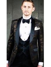 CH2309 Mens Single Breasted tuxedo Shawl Black Lapel brown