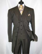 JSM-1412 Mens 5 Button Brown Notch Lapel Wool Single