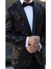 E-137 Mens Floral Designed Black Notch Lapel Burgundy~Black tuxedo