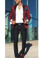 Mens Burgundy Satin Peak Lapel