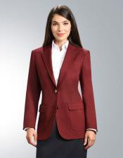 JSM-4958 Burgundy Women's Two Button 100% Polyester Single breasted