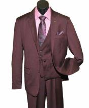 SD223 Mens Burgundy 3 Piece Single Breasted Notch Lapel