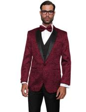 CH2246 Mens Burgundy Floral Sateen Unique Paisley Sport Coat