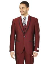 GD1668 Mens Lorenzo Bruno Slim Fit Burgundy 1 Button
