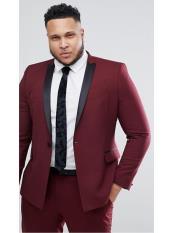 JS303 Mens Slim Fit Burgundy ~ Maroon Tuxedo