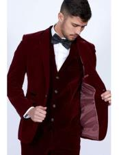 mens Burgundy Single Breasted Peak