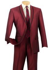 JS315 Mens Slim Fit Burgundy ~ Maroon Tuxedo