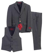 JSM-831 Boys 3 Piece Single Breasted Charcoal Formal Notch
