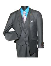 GD817 Falcone Men's Fashion Charcoal Peak Lapel Single Breasted
