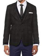 JA168 Ferrecci Mens Plaid Slim Fit Charcoal Vested Blazer