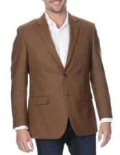 JSM-347 Mens Coffee Single Breasted Notch Lapel Rich Wool