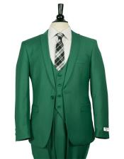 GD1675 Mens Single Breasted 1 Button Dark Green Vested