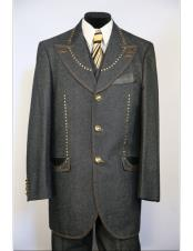 CH2464 Mens Wide Peak Lapel brass & faux leather