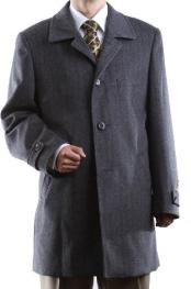 RVX23 Single Breasted Gray Luxury Wool Fabric Cashmere Three-quarter