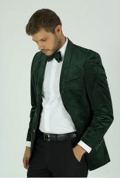 KNY_100 Mens Classic Fit Green Velvet Trim Single Breasted