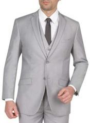SM1302 3 Piece Light Grey Notch Collar Single Breasted