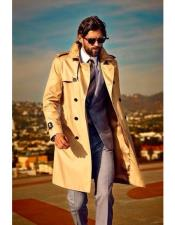 CH2071 Mens high fashion flip up collar khaki trenchcoat