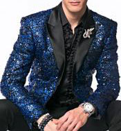 CH2031 Mens Sequin paisley Navy Blue ~ Black Dinner