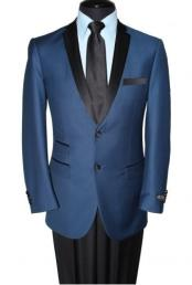 JSM-6563 Mens Notch Lapel Two Button Navy Blue Blazer