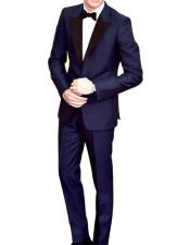 GD1592 Mens Navy Peak Lapel Single Breasted 1 Button