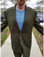 A62 Mens Medium Olive Green 2 Buttons Athletic Cut