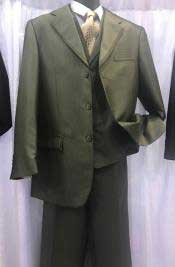 JSM-6906 Milano Moda Mens High Fashion Vested Suits Olive