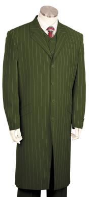 JA106 Mens Razor Stripe Notch Lapel Single Breasted Olive