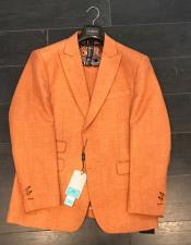Mens Two Buttons Orange Linen