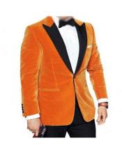 CH1902 Men's Black Peak Lapel Single Breasted Orange Velvet