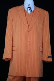JA105 Mens Razor Stripe Notch Lapel Orange Zoot Suit