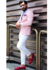 Mens Pink Notch Lapel Slim