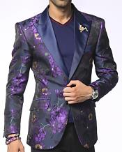 JSM-4514 Mens Single Breasted Peak Lapel Austin Purple Fashion