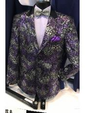 JSM-6900 Mens Purple Fancy Peak Lapel Blazer ~ Sport