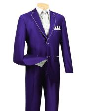 GD1425 Mens Single Breasted 5 Piece Purple 2 Button