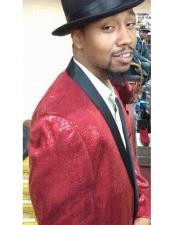 JSM-6522 Sequin ~ Red ~ Burgundy Blazer Sport Coat