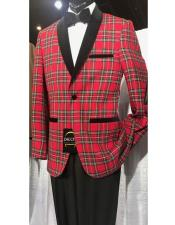 JSM-6903 Mens Single Breasted Shawl Black Lapel Plaid red