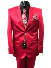 JS373 Mens Two Button Single Breasted Red Suit For