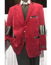 JSM-6904 Mens high fashion Single Breasted red velvet Blazer