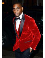 CH1597 Mens Red Velvet Tuxedo Blazer ~ Sport coat