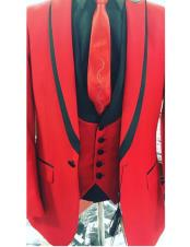 CH2304 Mens Single Breasted Trimmed Peak Lapel red vested